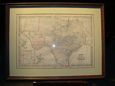 Antique Texas Map Framed Matted Indian Territory Gulf New Mexico Johnsons 1864