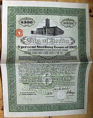6% STERLING LOAN of CITY of BERLIN, 1927. Germany £500 bond cancelled