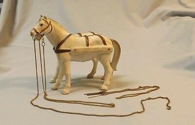 Vintage Ceramic horse figurine set of 2 Ardalt Japan carriage horses w/chains