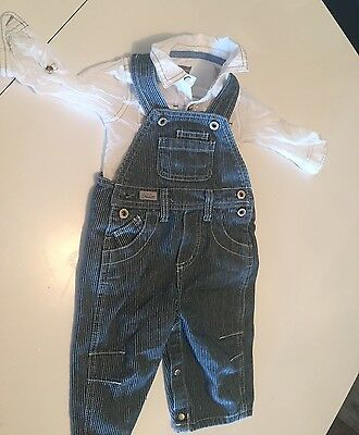 00 DEnim Baby Boys Overalls With White Pumpkin Patch Shirt