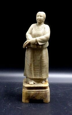 A Finely Carved Antique Soapstone Figure of Woman