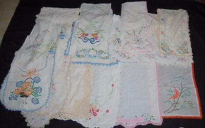 Antique Table Runner Lot 14 Embroidered Lace Cream Orange Linen Floral Crochet