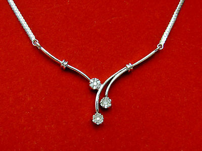 "Natural Real Diamond Flower Cluster ""V"" Frontal Necklace Solid 10k White Gold"