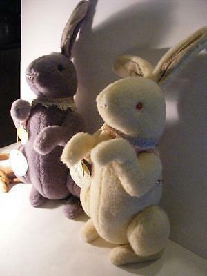 "2 WENDY BRENT Artist BUNNY RABBITS Mohair 13"" Jointed MUSICAL Noses Roses Easter"