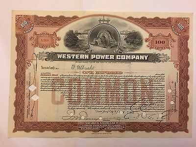 1910 Western Power Company Stock Certificate New Jersey Early Brown! Dynamo Vig
