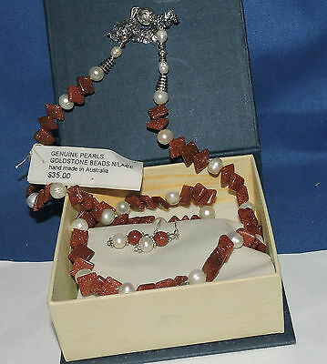 boxed necklace earrings 925 earwires goldstone and pearl 59cm unusual new never