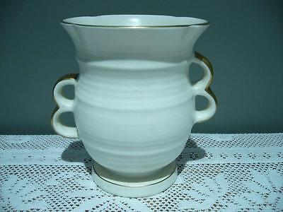 Crown Devon Art Deco Cream Vase With Gilt Trim - England - Gc