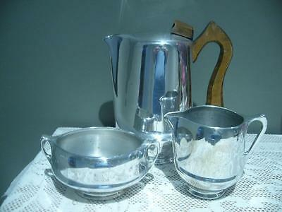 Piquot Ware Mid Century 3Pc Aluminium Coffee Set - England - Gc