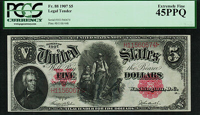 1907 $5 Legal Tender FR-88 - WoodChopper - Graded PCGS 45PPQ - Extremely Fine