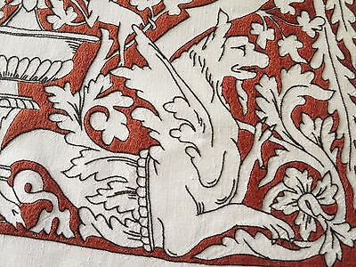 GRIFFINS Figural RED & BLACK EMBROIDERY Antique ITALIAN Linen Tablecloth Napkins