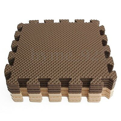 10Pcs Foam Puzzle Floor Mat EVA Interlocking Tiles 5 Beige and 5 Brown Exercise