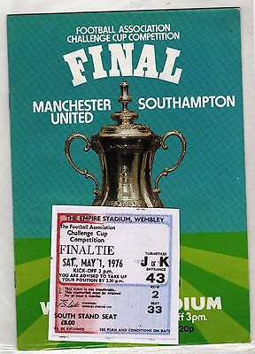 1976 fa cup final Manchester United v Southampton programme/ticket/*mint*