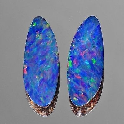7.39cts Nice Pair Blue Green Red Flash Natural Opal Doublet Loose Gemstones