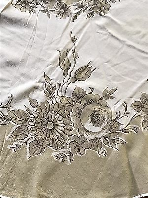 Vintage Round Floral Tablecloth Retro Brown & White Flower Rose Print 142cm Diam