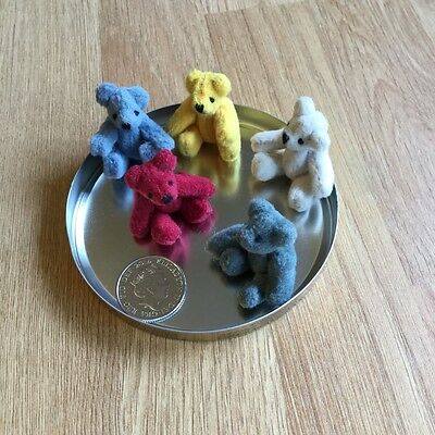 miniature jointed teddy bears x 5