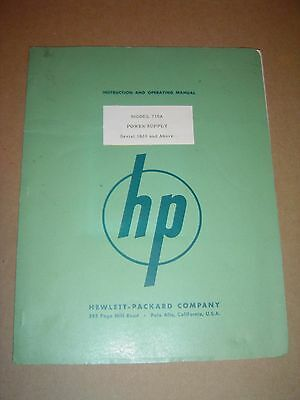 Hewlett Packard 710A Power Supply Operation & Instruction Manual