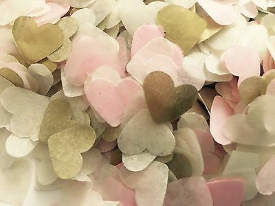 Pale pink, gold & ivory heart wedding confetti - party table decorations