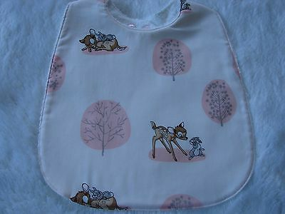 Pink Bambi & Thumper Baby Bib Cotton Front Towelling Back Handmade