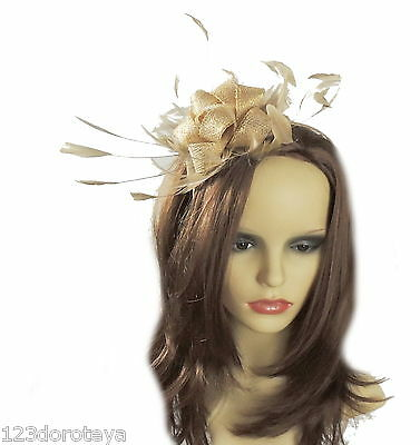Pale Gold Fascinator Hat For Weddings/Ascot/Proms With Headband T4