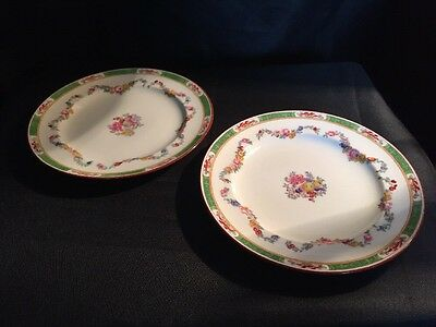 A Pair Of Two Mintons Hand Painted Plates Flowers Oriental Style Design