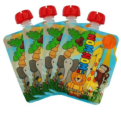 4 x Nom Nom Kids 140ml REUSABLE FOOD POUCHES for weaning & toddler snacks