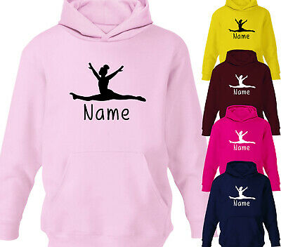 Girls Personalised Splits Design Gymnastics Hoodie Childrens Hoody All Ages