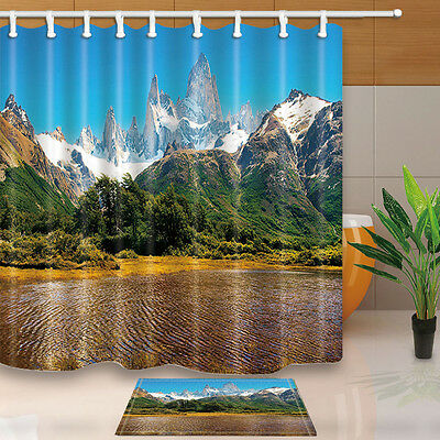 """71"""" Waterproof fabric Shower Curtain Bathroom home decor Mountain and water"""