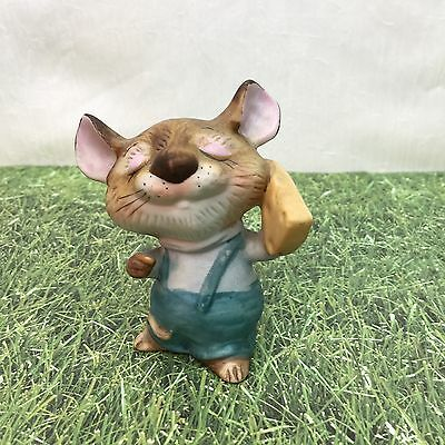Mouse Mice Porcelain Figurine Homco 5601 Overalls Cheese Hand Painted Vintage