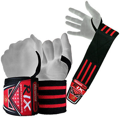 Rix Weight Lifting Wrist Wraps Bodybuilding Power Training Support Gym Straps 17