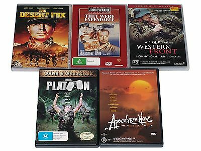 Bulk Lot of FIVE classic WAR movies on DVD -  Platoon, Apocalypse Now & more !
