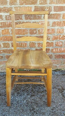 A Lovely Antique Edwardian Chapel/Church Style Solid Wood Rustic Style Chair