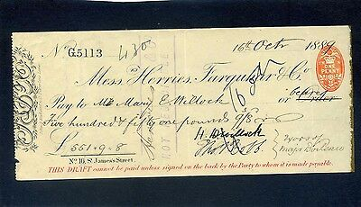 Mssrs Herries Farquar & Co Bank  Cheque 1889