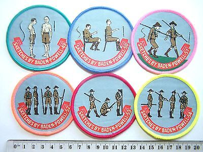 BP SCOUT BADGES Sketches of Baden-Powell (49-54), includes staves & presentation