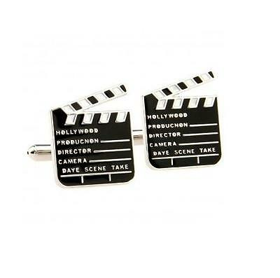 Silver Plated Cufflinks - Movie Clapperboard - Gift Bag - Free Uk P&p...w1536