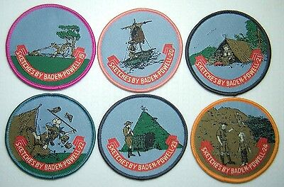 BP SCOUT BADGES Sketches of Baden-Powell (19-24), includes rafting & camping NEW