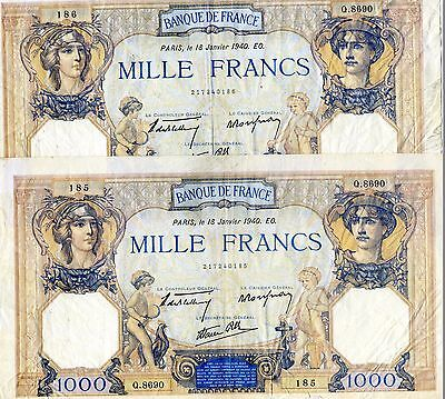 x2 Consecutive France French 1000 Mille Francs Banknotes 1940