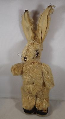 """VINTAGE 1930s 11"""" CHAD VALLEY JOINTED MOHAIR RABBIT WITH POSEABLE EARS"""