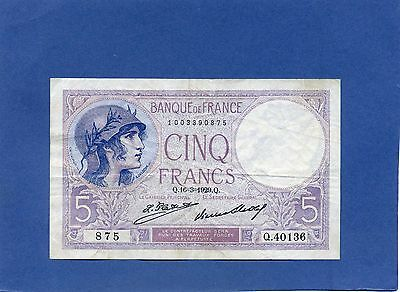 France French 5 Cinq Francs Banknote 1929