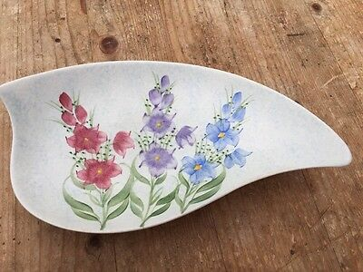 E Radford Pottery England Hand Painted Flower Dish 9""