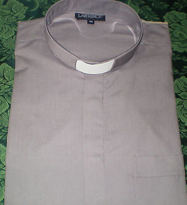 Mid Grey Tunnel Collar S/ Sleeved Clergy Shirt  - P/cotton - End Of Line
