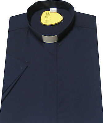 Navy 100% Cotton Quality Clergy Shirts   - Low Price End Of Line