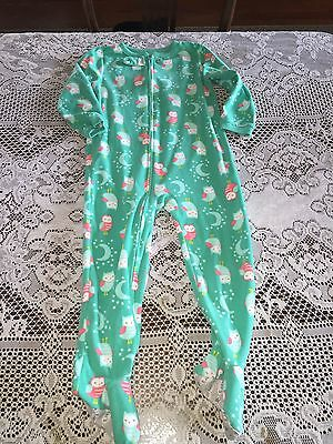 Girls Clothes Carter's Teal Owl Footed Pajamas PJs size 5T