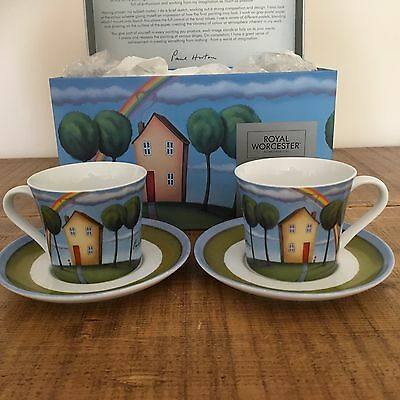 Paul Horton 'On Rainbow Days' cups & Saucers by Royal Worcester. Boxed
