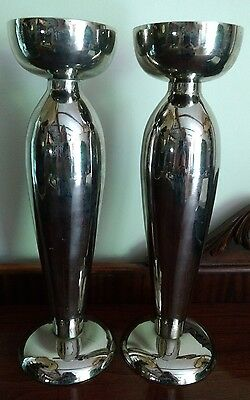 Stark Modern Elegant Candlesticks Holders Pair of 2 Tall Silver Tone Metal Alloy