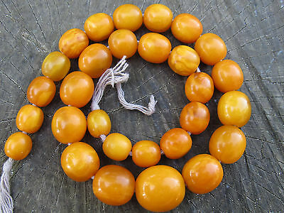47g Antique Beautiful Butterscotch eggyolk Natural Amber Beads Necklace
