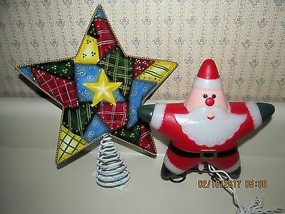 Christmas Tree 'Star Shaped' Topper's (2) Sided Santa Light Up & Metal Quilt Pat