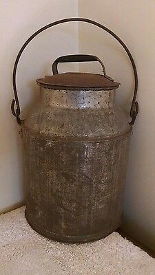 "Unrestored Vintage 12"" Milk Can with Lid/ Handle"
