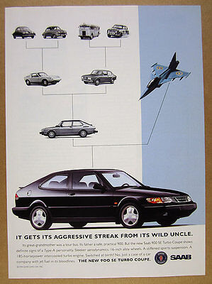 1994 Saab 900 SE Turbo Coupe black car photo vintage print Ad