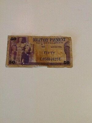 Series 692 50 Fifty Cents Mpc Military Payment Certificate