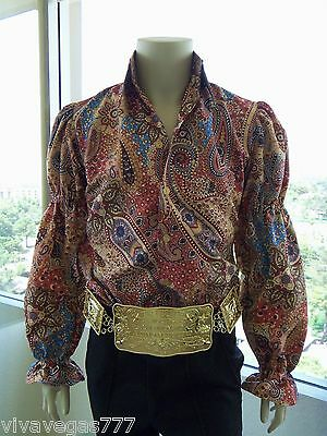 ELVIS (MATTE BEIGE PAISLEY Puffy Shirt) Tribute Artist Costume (Jumpsuit Era)
